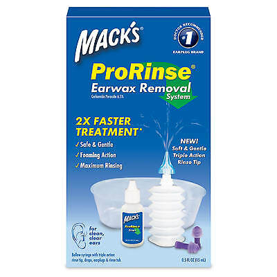 Mack's ProRinse Earwax removal systems with drops, rinse tub, earplugs + syringe