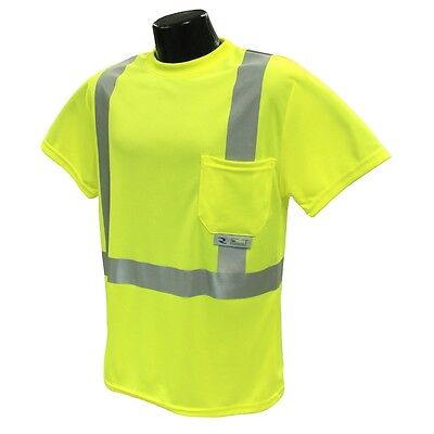 Radians Class 2 Mesh Safety Shirt Lime Green with Reflective Stripes