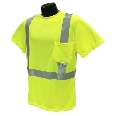 Radians Class 2 Reflective Mesh Safety Shirt with Pocket, Yellow/Lime