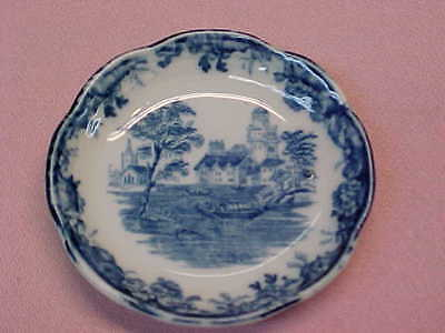 "Antique England Blue & White Butter Pat 3"" Wide  #81"