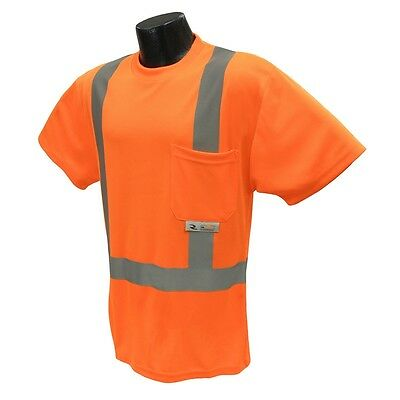 Radians Class 2 Reflective Safety Shirt Hi-Vis Orange Mesh