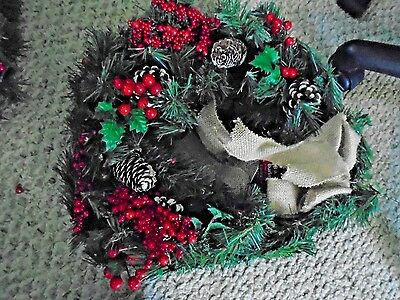 6 Pack -18 in. Unlit Decorated Wreath w/Burlap Bow Christmas Holiday Home Decor