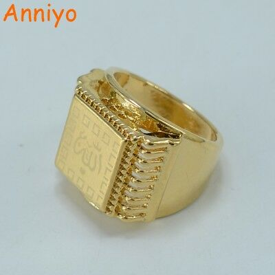 Anniyo Allah Ring  for Men Muhammad Rings Women Gold Color and Copper Arab/Is...