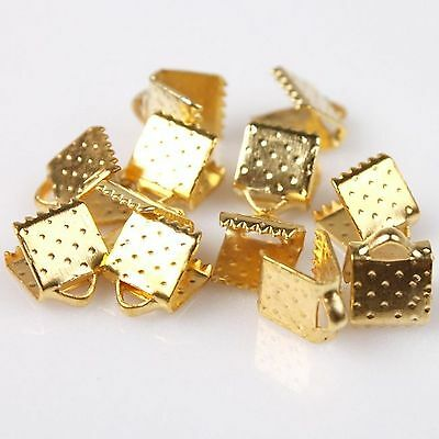 30 x 6mm Gold Ribbon Clamps End Crimps With Loop Jewellery Findings