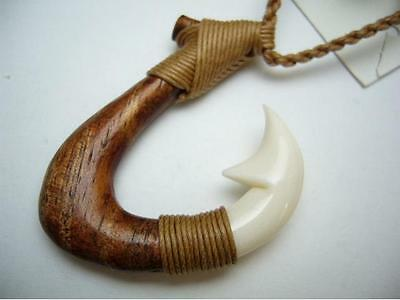 Genuine Koa Wood Hawaiian Jewelry Fish Hook Pendant Choker/Necklace  # 45008