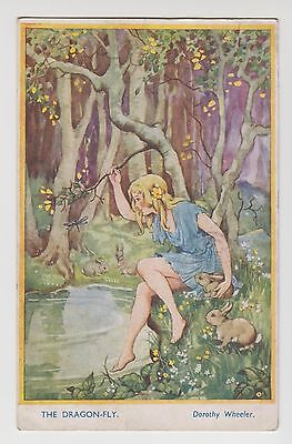 "POSTCARD - Dorothy Wheeler ""The Dragon-Fly"" rabbits, Bamforth Woodland Secrets"