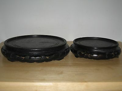 TWO fine old Chinese carved lacquer wood stand for art vase.