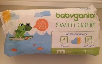 NEW Babyganics Color Changing Swim Diapers Disposable SZ: M (24  - 34 lbs)
