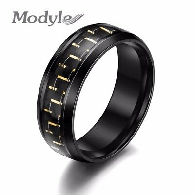 Modyle 2017 NEW Carbon Fiber Simple Men Ring 8mm Stainless Steel 3 Colors Fas...