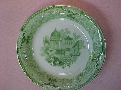 "Antique England Green & White Butter Pat 3 1/4"" Wide  #87"