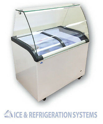 """Alamo Commercial 41"""" Glass Slide Top Ice Cream Dipping Cabinet Freezer Sd320Q"""