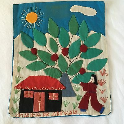 Hand Embroidered/Appliqued Picture-Signed-El Salvador-c.1975