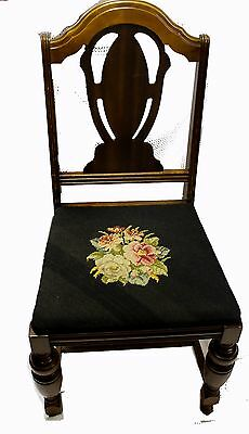 Antique American Victorian Eastlake Needlepoint Seat Dining Chair
