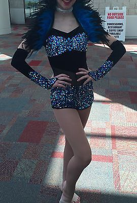 Women's jazz/tap competition dance costume black and blue adult large sequins