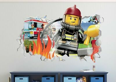 Lego City Boat Police Rescue Smashed Wall Decal 3D Sticker Vinyl Decor Art LS32