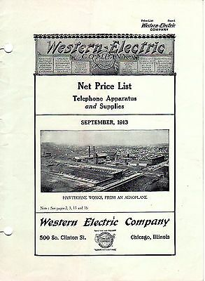 1913 WESTERN ELECTRIC CO. CATALOG Telephone Apparatus & Supplies Price List.