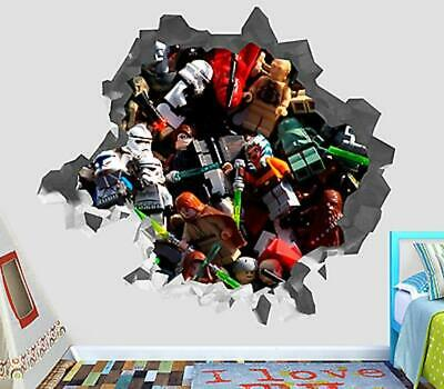 Lego Star Wars Characters Smashed Wall Decal 3D Sticker Decor Vinyl Smash OP86