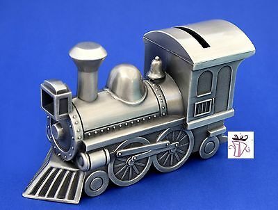 Boy Quality Pewter Train Money Box Bank Baby Shower Gift Idea Christening