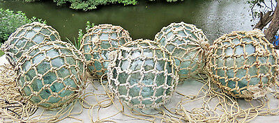 "Japanese GLASS Fishing FLOATS 3.5"" (6) Distinctive Netted Buoy + Net Antique A1"