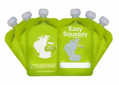 Reusable baby Food Pouch 6 x 150ml Eazy Squeezy BPA & PVC free No Leak