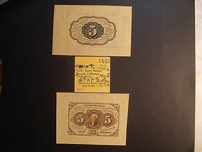 Fractional Currency F1231 Specimen pair, with 1982 Auction tag