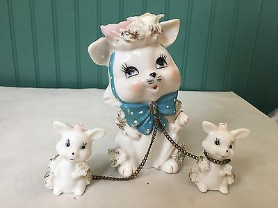 Vintage Lefton Porcelain Mouse With 2 Chained Mice Figurines