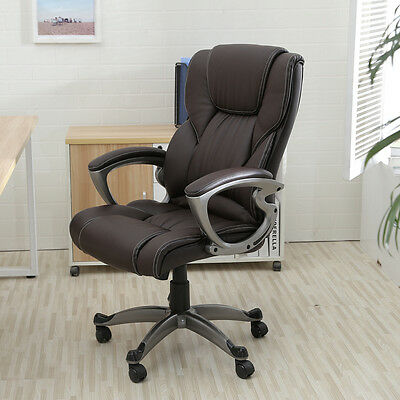 Brown PU Leather High Back Office Chair Executive Task Ergonomic Computer Desk$