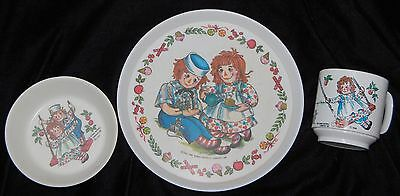 Vintage 1969 Raggedy Ann & Andy Oneida Deluxe Melamine Child's Cup, Bowl, Plate