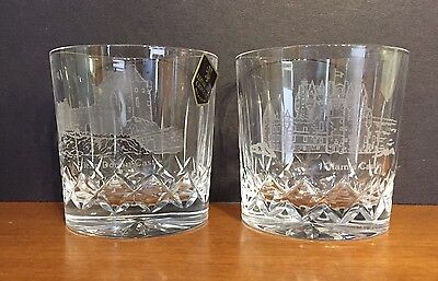 Set of 2 Scottish Castles Etched  Crystal Barware Whiskey Glasses Scotland