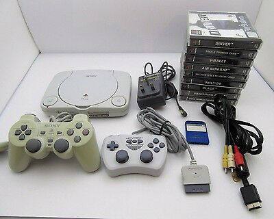 PS 1 PlayStation 1 PSone Bundle 9 Games 2 Controllers PAL