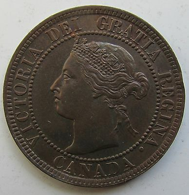 Canada, 1893 Large Cent 1c Penny, Victoria, High Grade