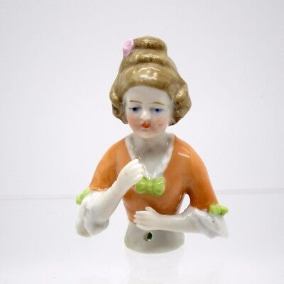 Antique Half Doll Sweet Young Girl Dressed in Orange w/Green Bows