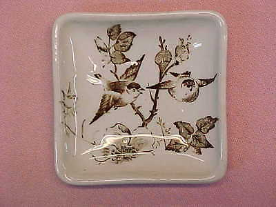 "Antique Square Brown Transferware Butter Pat with Birds 2 5/8"" Wide  #92"