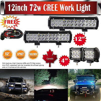 "CREE 12 inch Led Work Light Bar + 2x 4"" Pods Harness Offroad SUV Ford Truck 4WD"