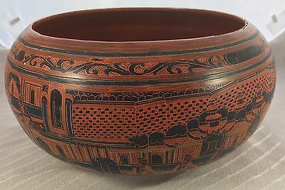 Antique Asian Chinese Black Or Red Blue Black Fu Dog Bowl