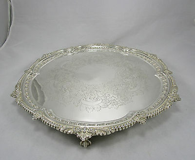 "English Barker Ellis Claw Ball Feet 16"" Silver Plate Round Salver Serving Tray"