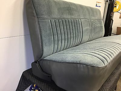 1981-1987 Chevy GMC Truck Bench Seat Restored/Recovered Charcoal Velour/Vinyl