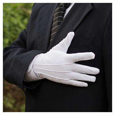 Pairs Mens White Formal Gloves Tuxedo Honor Guard Parade Santa Inspection 23*8cm