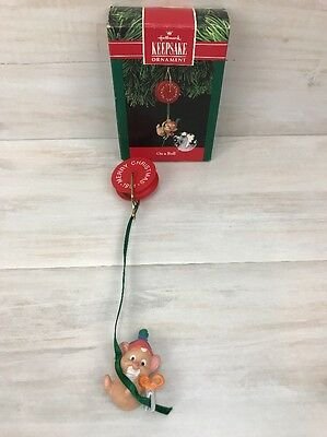 Hallmark Keepsake Ornament On A Roll Mouse 1991 Christmas Holiday Ornament