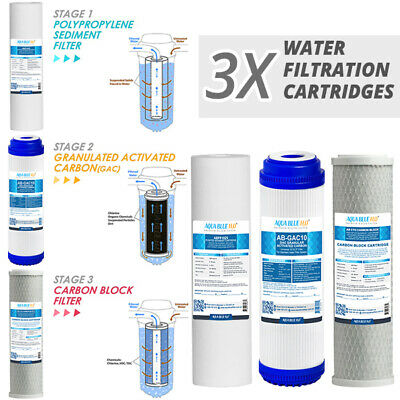 """Undersink 3 Stage Water Filter 10"""" Cartridges Activated Carbon - Complete Set"""