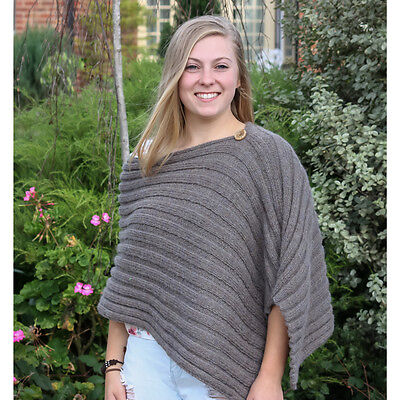 Knitting Kit: Pure Alpaca Poncho - Knitting Yarn, Pattern & Button *no acrylic