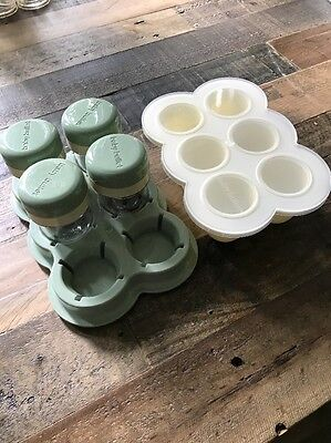 Baby Bullet Freezer Silicone Storage Tray And Storage Cups with Lids And Tray