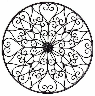 Scroll Fleur Flower Metal Hanging Wall Art Sculpture Iron Home Garden Décor 60cm