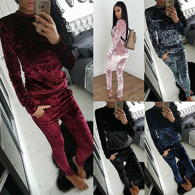 UK 2PC Womens Crushed Velvet Velour Lounge Wear Sweatshirt Joggers Tracksuit Top