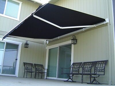 Luxury Retractable Folding Arm Roll Out Awning  Black / Beige Width 4m or 3.5m
