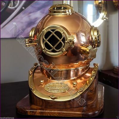 "Vintage Brass Scuba Diving Divers Helmet US Navy Mark V Solid Brass 18"" w/ Base"