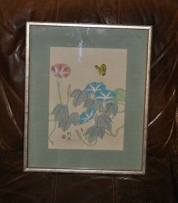 Chinese Silk Painting - Framed, Glazed & Signed - flowers & butterfly - Vintage