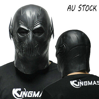 AU STOCK Black The Flash Zoom Mask Cosplay Costume Prop Halloween Latex Masks