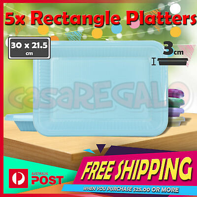 5x Disposable Plastic Platters - Party Supplies Round Dinner Plates Bowl Colored