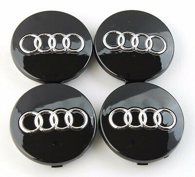 4Pcs Black Car Alloy Wheel Center Hub Cap Emblem Badge 60mm for AUDI # 4B0601170